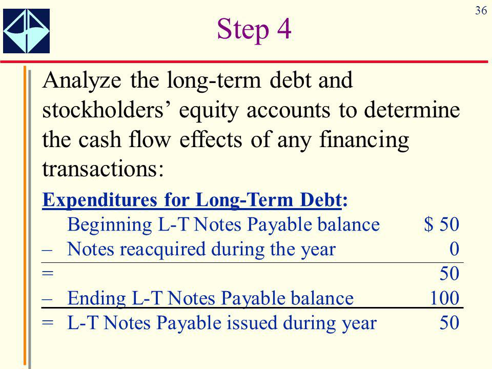 36 Analyze the long-term debt and stockholders' equity accounts to determine the cash flow effects of any financing transactions: Step 4 Expenditures