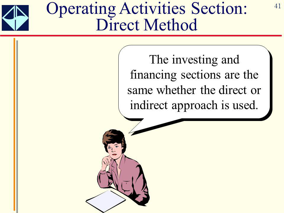 41 The investing and financing sections are the same whether the direct or indirect approach is used.