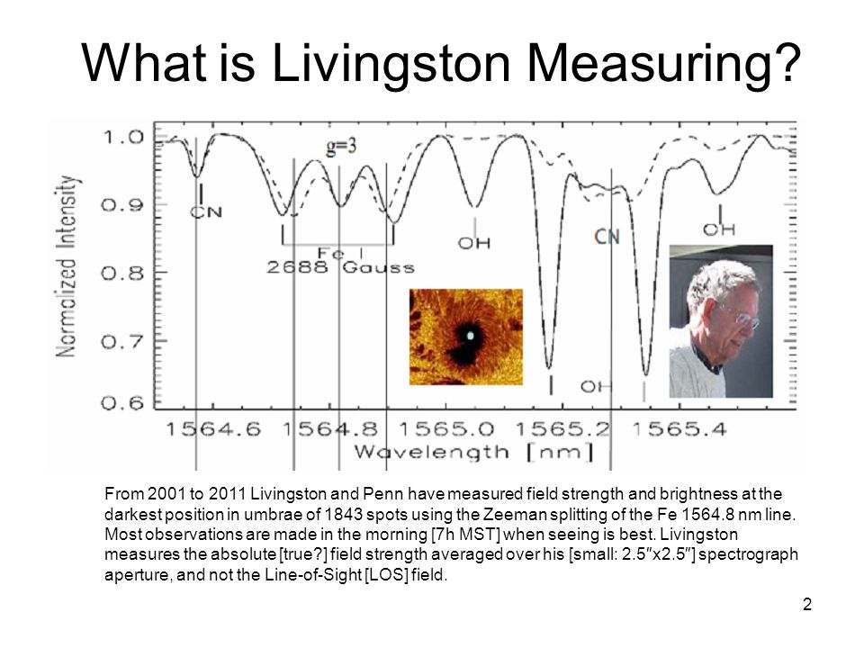 2 What is Livingston Measuring? From 2001 to 2011 Livingston and Penn have measured field strength and brightness at the darkest position in umbrae of