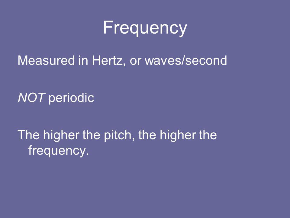 Frequency Measured in Hertz, or waves/second NOT periodic The higher the pitch, the higher the frequency.