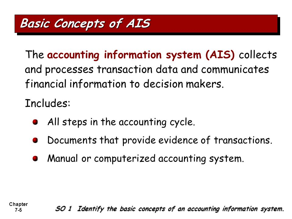 Chapter 7-6 Basic Concepts of AIS SO 1 Identify the basic concepts of an accounting information system.