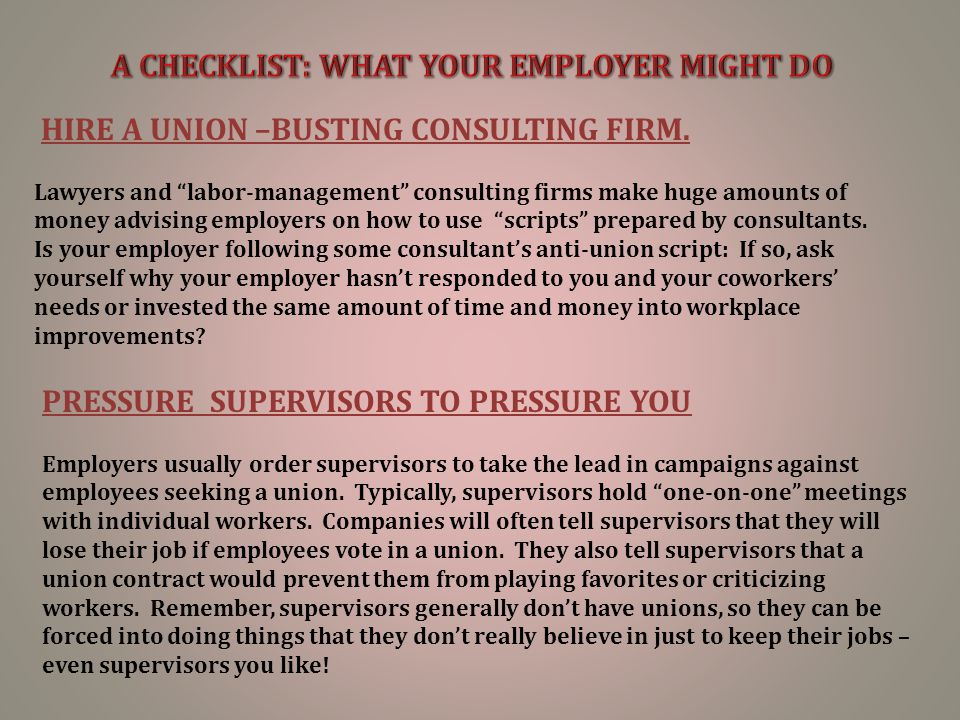 """HIRE A UNION –BUSTING CONSULTING FIRM. Lawyers and """"labor-management"""" consulting firms make huge amounts of money advising employers on how to use """"sc"""
