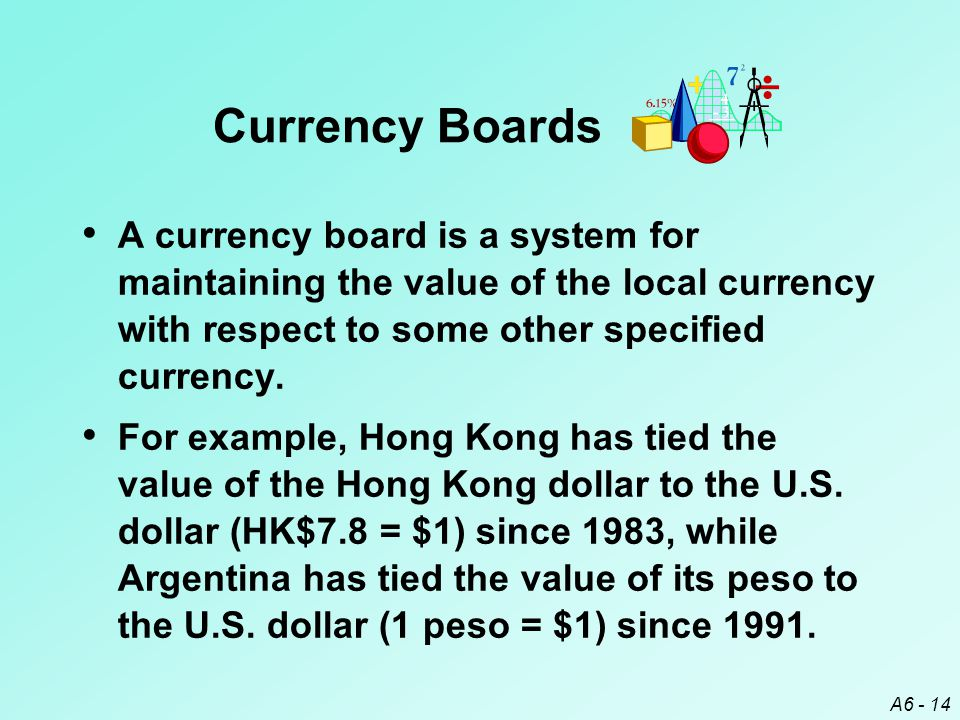 A6 - 14 Currency Boards A currency board is a system for maintaining the value of the local currency with respect to some other specified currency.