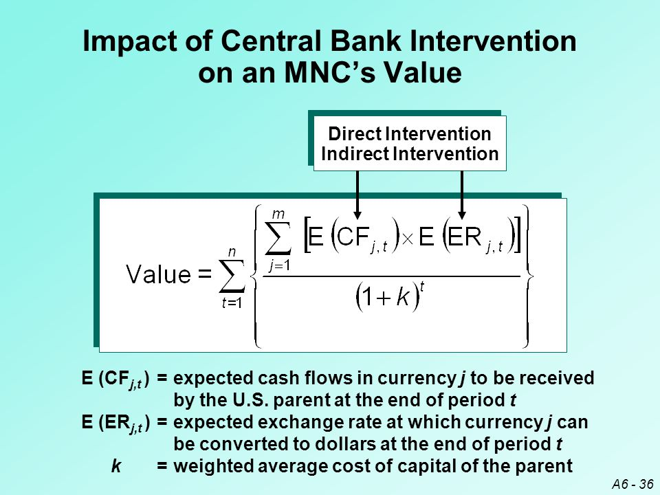 A6 - 36 Impact of Central Bank Intervention on an MNC's Value E (CF j,t )=expected cash flows in currency j to be received by the U.S.