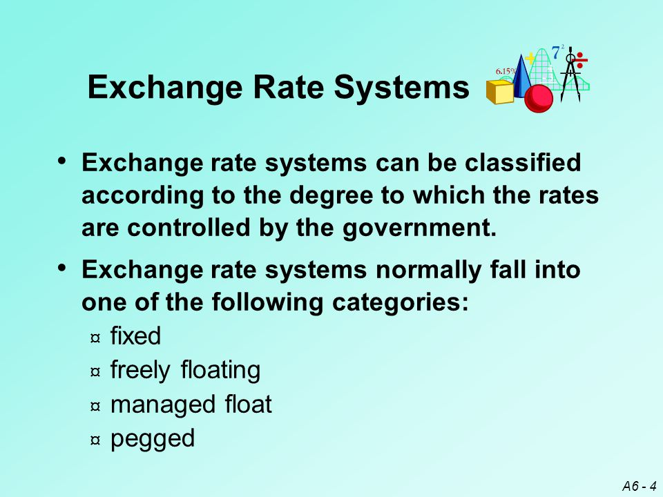 A6 - 5 In a fixed exchange rate system, exchange rates are either held constant or allowed to fluctuate only within very narrow bands.