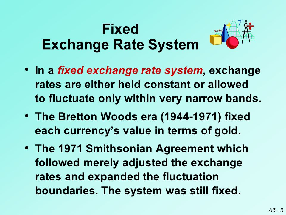 A6 - 26 Government Intervention Central banks manage exchange rates ¤ to smooth exchange rate movements, ¤ to establish implicit exchange rate boundaries, and/or ¤ to respond to temporary disturbances.