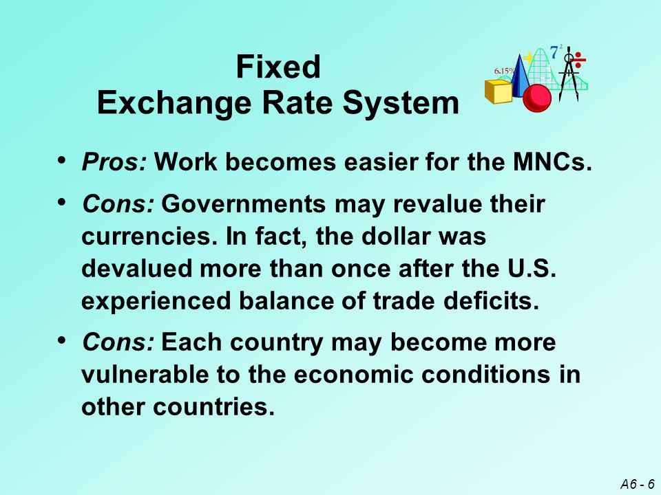 A6 - 37 Exchange Rate Systems ¤ Fixed Exchange Rate System ¤ Freely Floating Exchange Rate System ¤ Managed Float Exchange Rate System ¤ Pegged Exchange Rate System ¤ Currency Boards ¤ Exposure of a Pegged Currency to Interest Rate and Exchange Rate Movements ¤ Dollarization Chapter Review