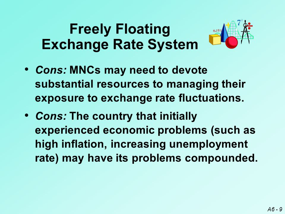 A6 - 9 Cons: MNCs may need to devote substantial resources to managing their exposure to exchange rate fluctuations.