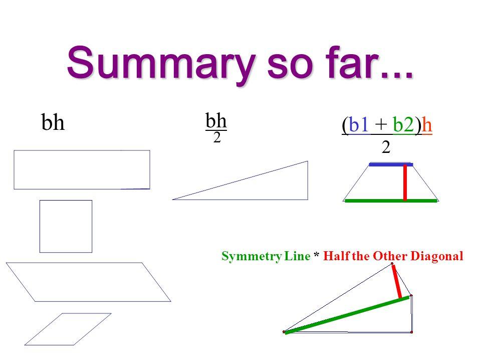 Summary so far... bh 2 (b1 + b2)h 2