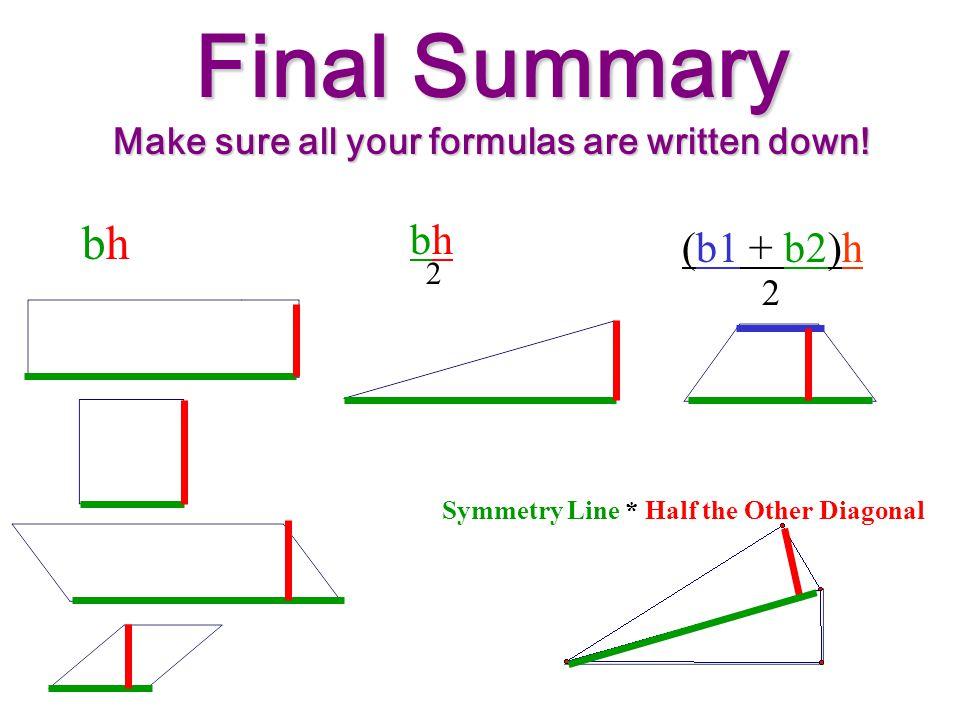 Summary so far... bh 2 (b1 + b2)h 2 Symmetry Line * Half the Other Diagonal