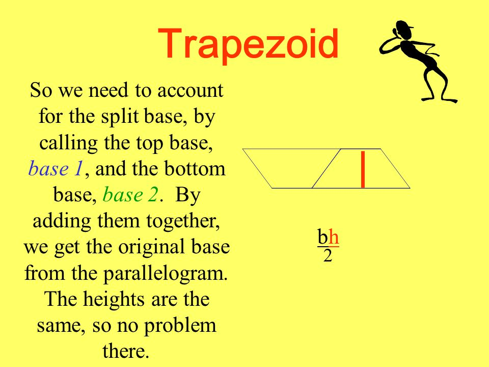 Trapezoid But now there is a problem. What is wrong with the base? bh 2