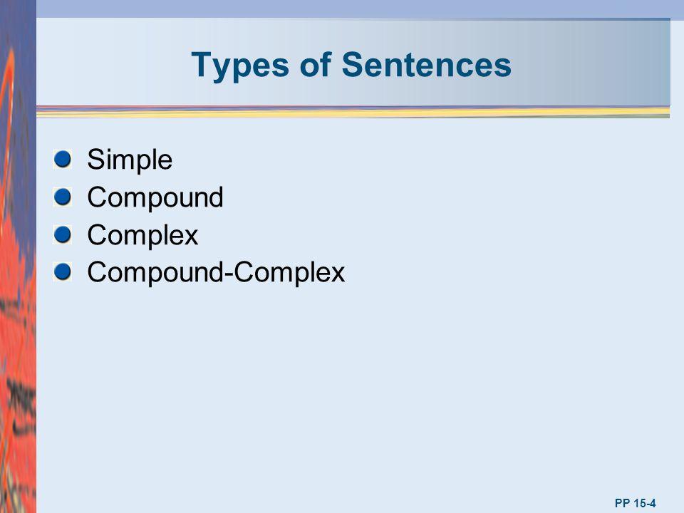 Types of Sentences PP 15-4 Simple Compound Complex Compound-Complex