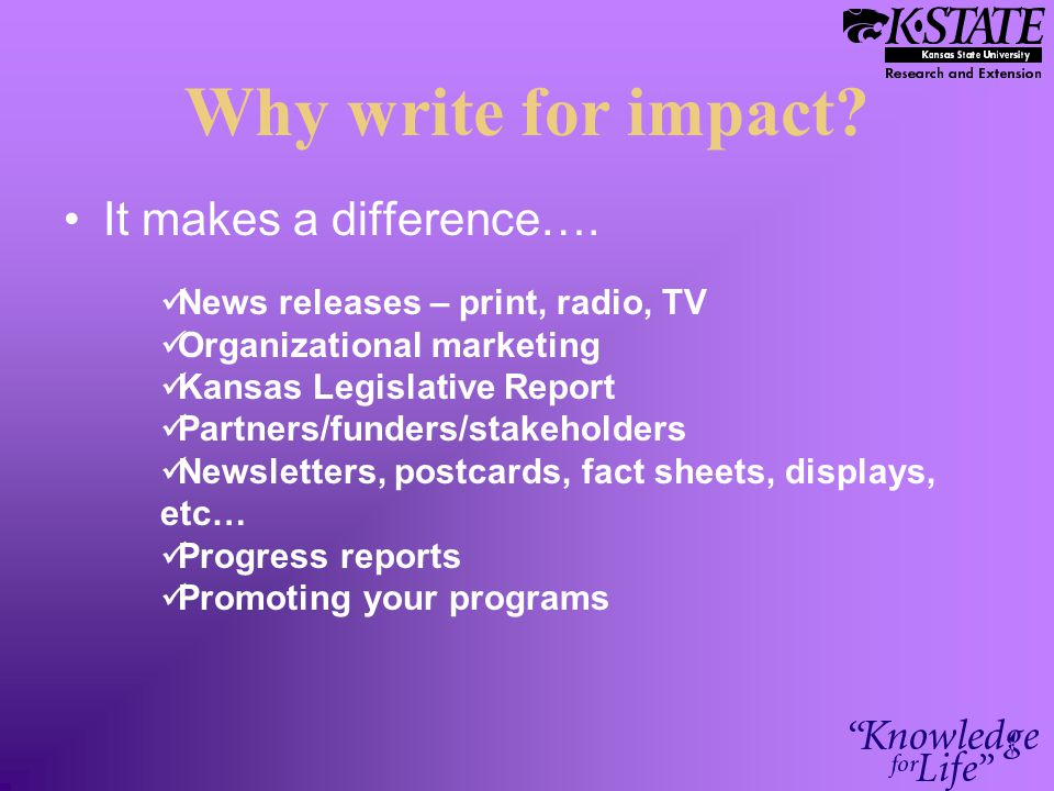 Why write for impact. It makes a difference….