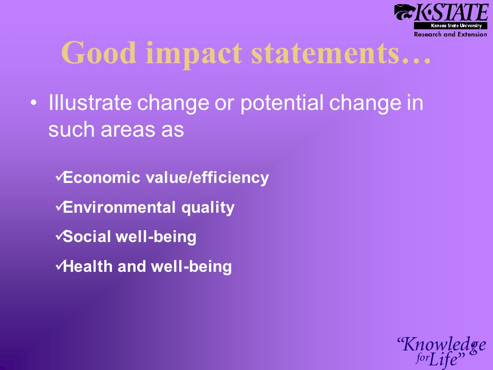 Good impact statements… Illustrate change or potential change in such areas as Economic value/efficiency Environmental quality Social well-being Health and well-being
