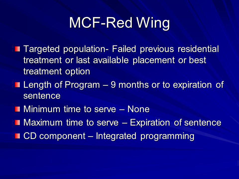 MCF-Red Wing Targeted population- Failed previous residential treatment or last available placement or best treatment option Length of Program – 9 months or to expiration of sentence Minimum time to serve – None Maximum time to serve – Expiration of sentence CD component – Integrated programming