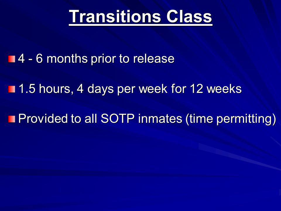 Transitions Class 4 - 6 months prior to release 1.5 hours, 4 days per week for 12 weeks Provided to all SOTP inmates (time permitting)