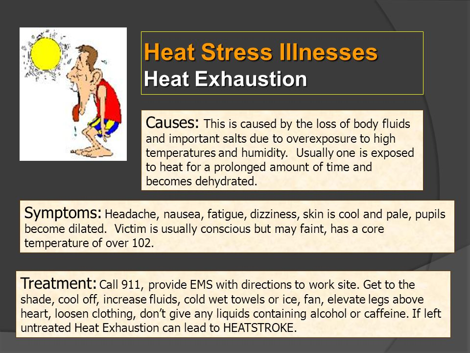 Heat Stress Illnesses Heat Exhaustion Causes: This is caused by the loss of body fluids and important salts due to overexposure to high temperatures a