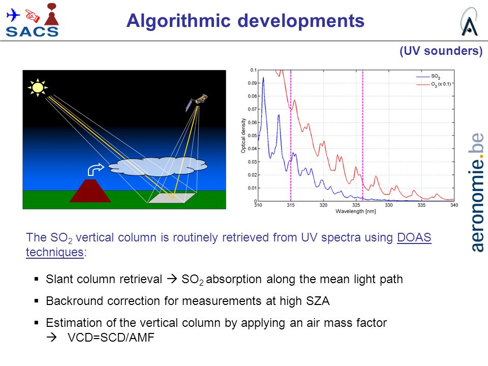 Algorithmic developments  Slant column retrieval  SO 2 absorption along the mean light path  Backround correction for measurements at high SZA  Es