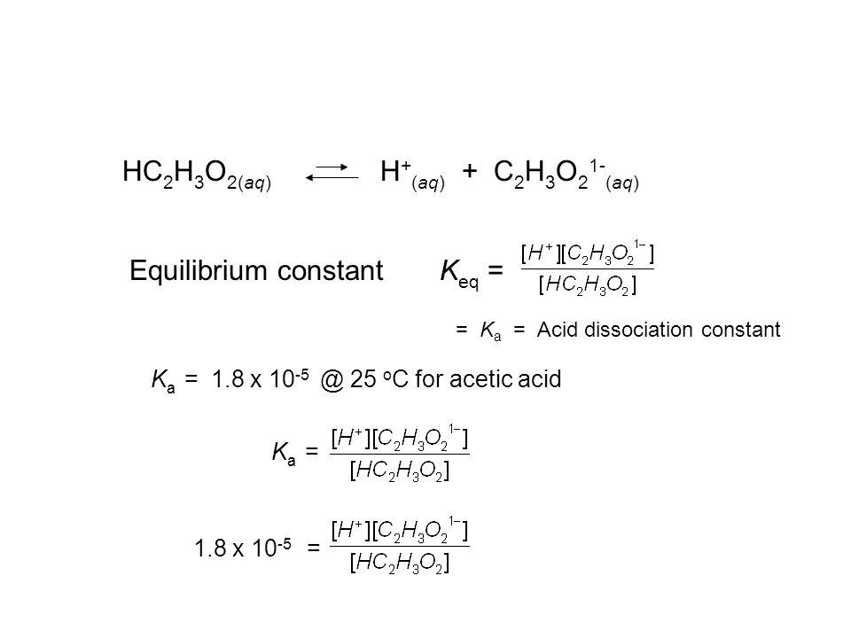 HC 2 H 3 O 2(aq) H + (aq) + C 2 H 3 O 2 1- (aq) Equilibrium constant K eq = 1.8 x 10 -5 = = K a = Acid dissociation constant K a = 1.8 x 10 -5 @ 25 o
