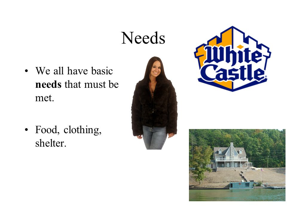 Needs We all have basic needs that must be met. Food, clothing, shelter.