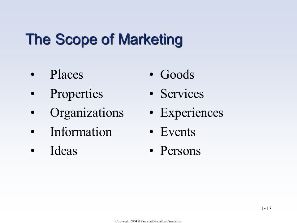 Copyright 2004 © Pearson Education Canada Inc 1-13 The Scope of Marketing Places Properties Organizations Information Ideas Goods Services Experiences Events Persons