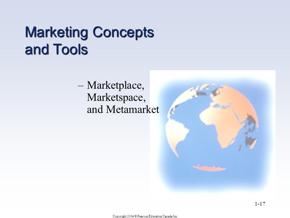 Copyright 2004 © Pearson Education Canada Inc 1-17 Marketing Concepts and Tools –Marketplace, Marketspace, and Metamarket