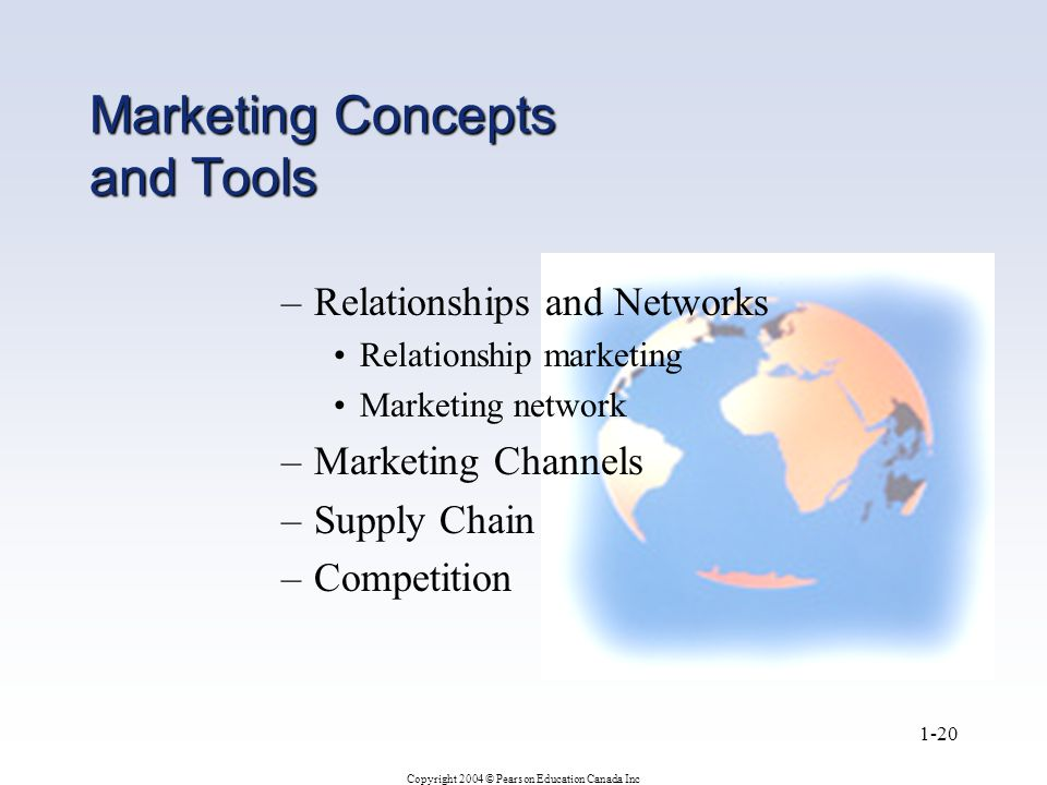 Copyright 2004 © Pearson Education Canada Inc 1-20 Marketing Concepts and Tools –Relationships and Networks Relationship marketing Marketing network –Marketing Channels –Supply Chain –Competition