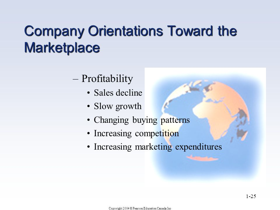 Copyright 2004 © Pearson Education Canada Inc 1-25 Company Orientations Toward the Marketplace –Profitability Sales decline Slow growth Changing buying patterns Increasing competition Increasing marketing expenditures