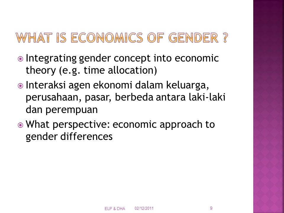  Integrating gender concept into economic theory (e.g.