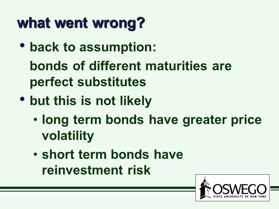 what went wrong? back to assumption: bonds of different maturities are perfect substitutes but this is not likely long term bonds have greater price v