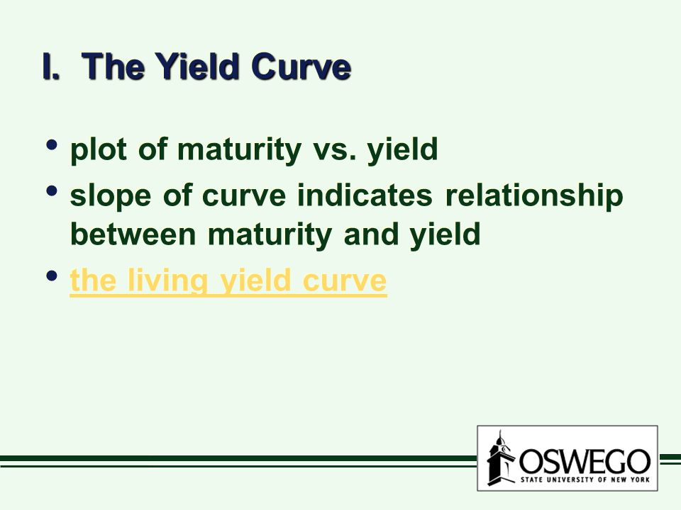 I. The Yield Curve plot of maturity vs. yield slope of curve indicates relationship between maturity and yield the living yield curve plot of maturity