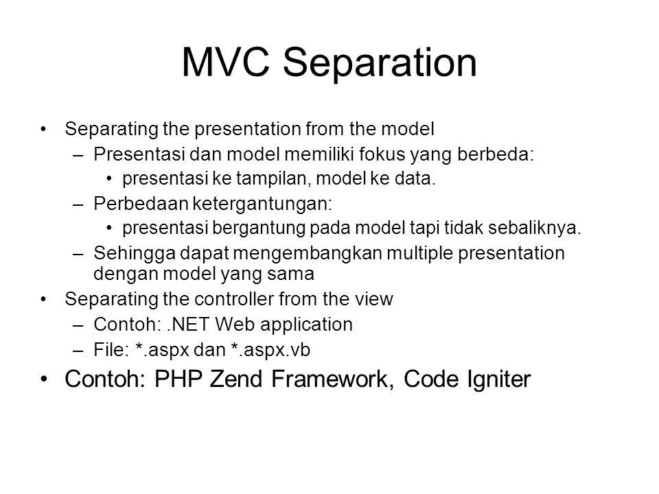 MVC Separation Separating the presentation from the model –Presentasi dan model memiliki fokus yang berbeda: presentasi ke tampilan, model ke data.