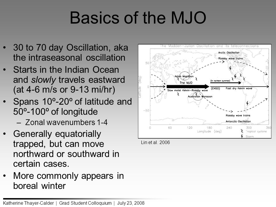 Katherine Thayer-Calder | Grad Student Colloquium | July 23, 2008 Basics of the MJO 30 to 70 day Oscillation, aka the intraseasonal oscillation Starts in the Indian Ocean and slowly travels eastward (at 4-6 m/s or 9-13 mi/hr) Spans 10º-20º of latitude and 50º-100º of longitude –Zonal wavenumbers 1-4 Generally equatorially trapped, but can move northward or southward in certain cases.