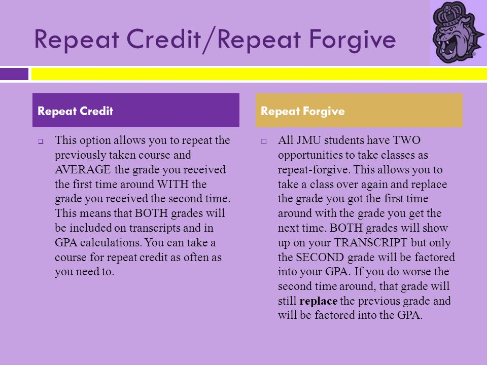 Repeat Credit/Repeat Forgive  This option allows you to repeat the previously taken course and AVERAGE the grade you received the first time around W