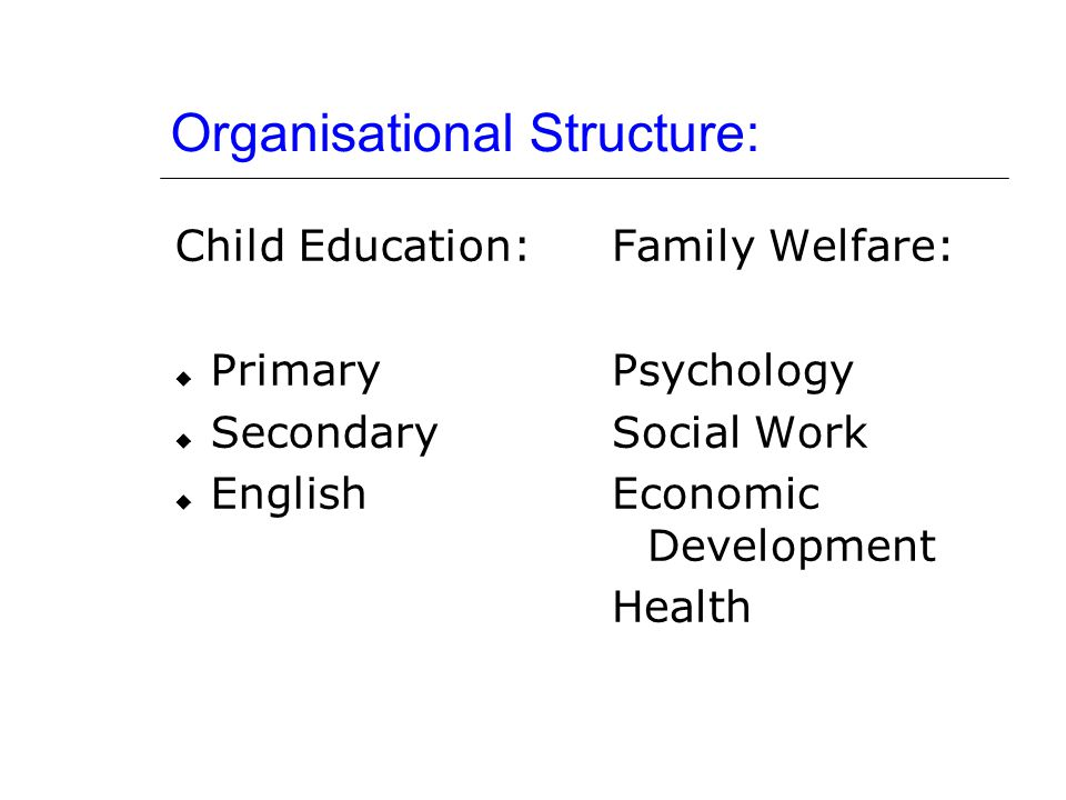 Organisational Structure: Child Education:  Primary  Secondary  English Family Welfare: Psychology Social Work Economic Development Health