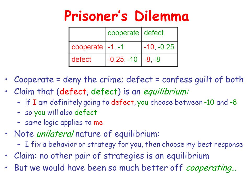 Prisoner's Dilemma Cooperate = deny the crime; defect = confess guilt of both Claim that (defect, defect) is an equilibrium: –if I am definitely going to defect, you choose between -10 and -8 –so you will also defect –same logic applies to me Note unilateral nature of equilibrium: –I fix a behavior or strategy for you, then choose my best response Claim: no other pair of strategies is an equilibrium But we would have been so much better off cooperating… cooperatedefect cooperate-1, -1-10, -0.25 defect-0.25, -10-8, -8