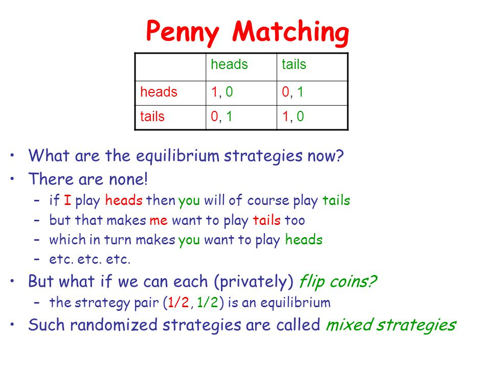 Penny Matching What are the equilibrium strategies now.