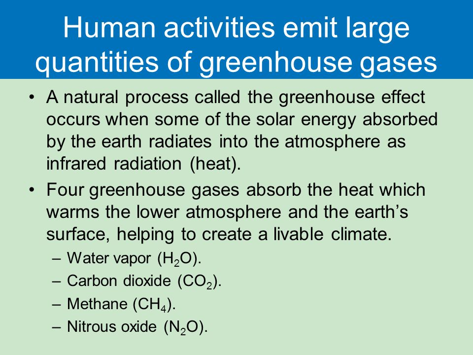 Human activities emit large quantities of greenhouse gases A natural process called the greenhouse effect occurs when some of the solar energy absorbe