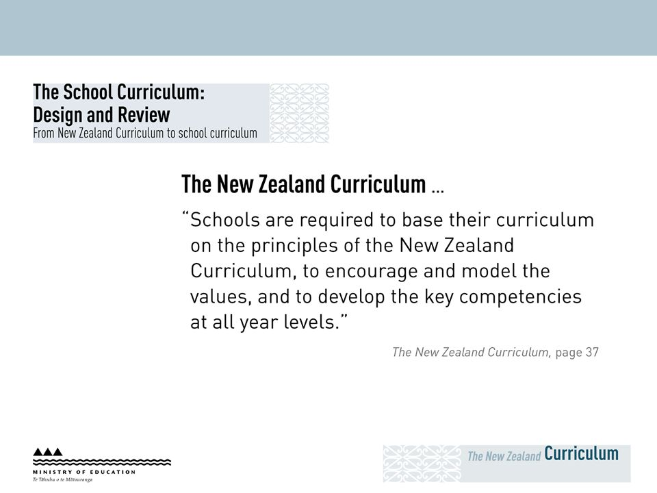 The School Curriculum: Design and Review