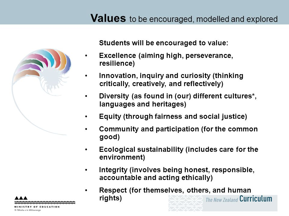 Students will be encouraged to value: Excellence (aiming high, perseverance, resilience) Innovation, inquiry and curiosity (thinking critically, creat