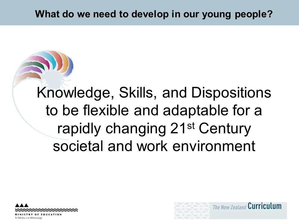 What do we need to develop in our young people? Knowledge, Skills, and Dispositions to be flexible and adaptable for a rapidly changing 21 st Century