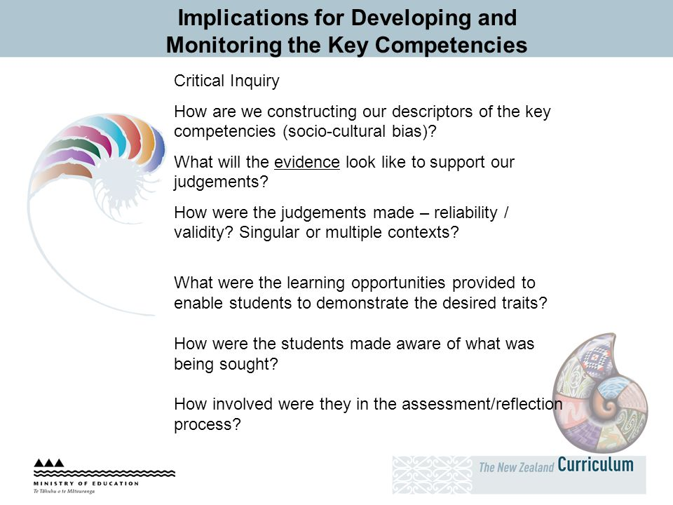 Implications for Developing and Monitoring the Key Competencies Critical Inquiry How are we constructing our descriptors of the key competencies (soci