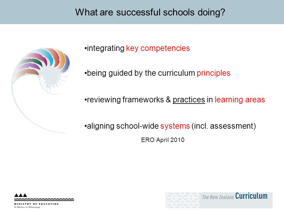 What are successful schools doing? integrating key competencies being guided by the curriculum principles reviewing frameworks & practices in learning