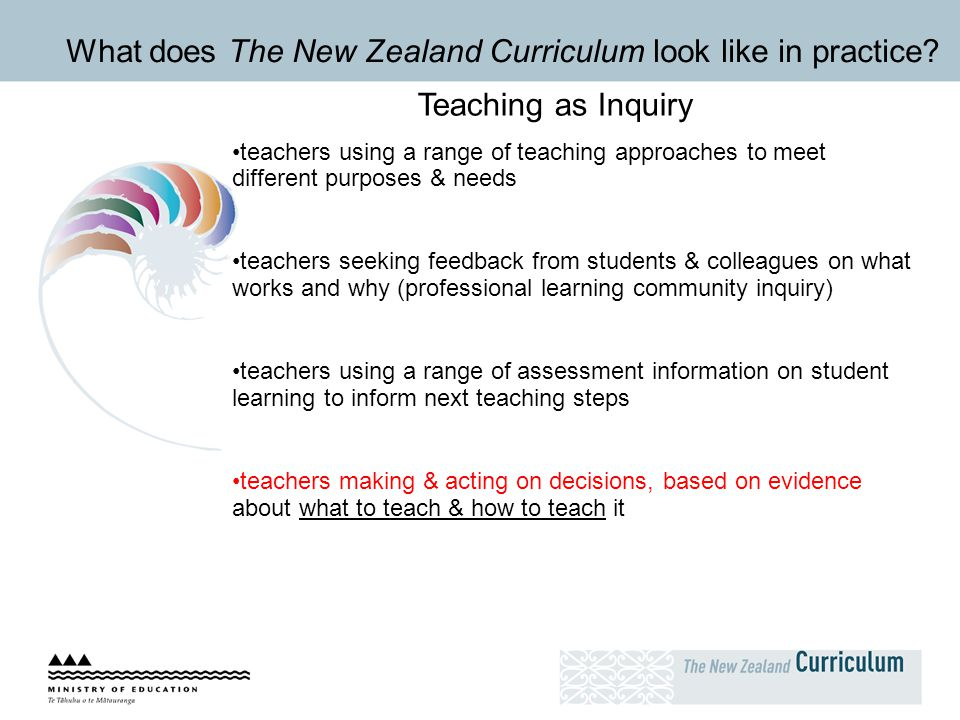 What does The New Zealand Curriculum look like in practice? Teaching as Inquiry teachers using a range of teaching approaches to meet different purpos