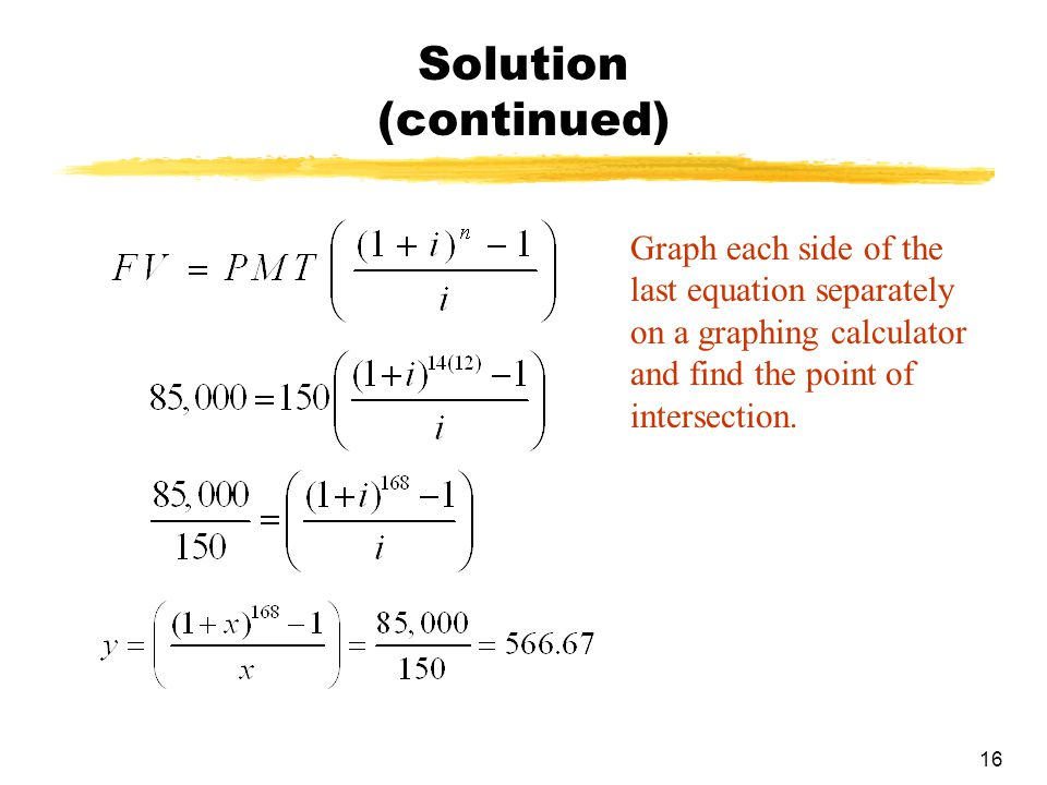 16 Solution (continued) Graph each side of the last equation separately on a graphing calculator and find the point of intersection.