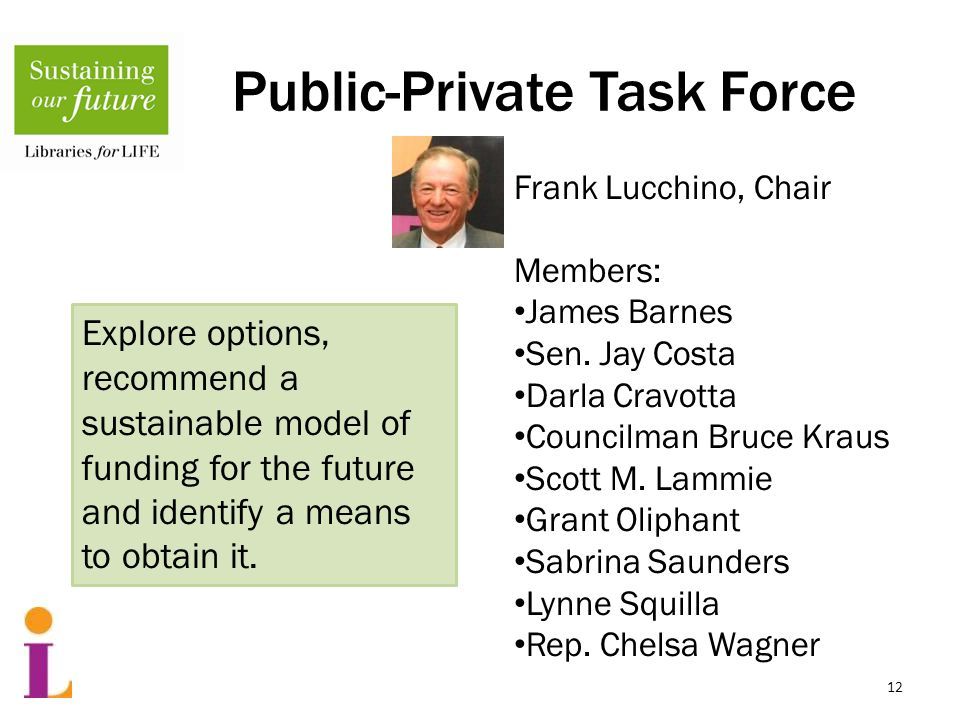 Public-Private Task Force 12 Frank Lucchino, Chair Members: James Barnes Sen.