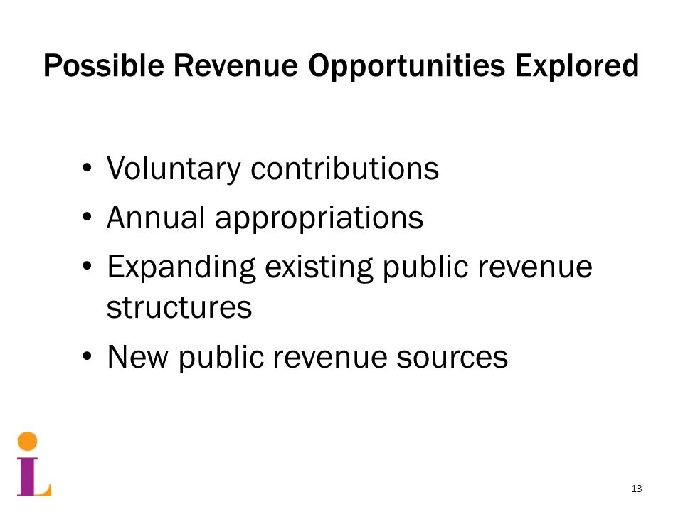 Possible Revenue Opportunities Explored Voluntary contributions Annual appropriations Expanding existing public revenue structures New public revenue sources 13