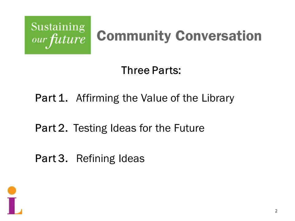 Three Parts: Part 1. Affirming the Value of the Library Part 2.