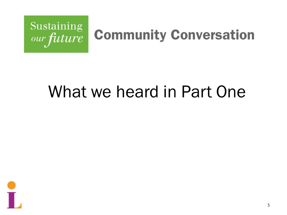 Community Conversation Part One What we heard in Part One 5